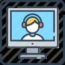 banking, customer service, monitor, online, talking, user