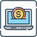 banking, coin, currency, finance, laptop, online, payment icon