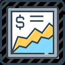 business, chart, dollar, financial, graph, statistics icon