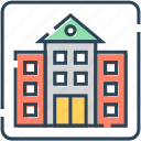 apartment, bank, building, finance, hotel, house, real estate