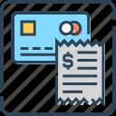 atm card, atm slip, bank card, bill, credit card, debit card, receipt icon