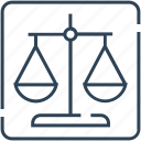 balance, court, justice, law, legal, scale icon