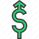 currency, dollar, forex, increase, rise, shares, value icon