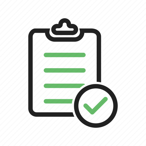 accepted, accounts, banking, checklist, clipboard, items, tick icon