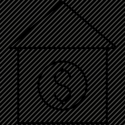 bank, dollar, finance, house icon