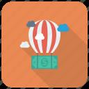 ballon, cloud, currency, dollar, finance, money, payment
