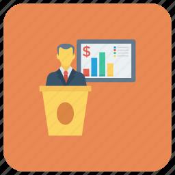 analytics, business, businesspresentation, chart, graph, meeting, presentation icon