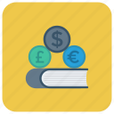 book, cash, coins, dollar, finance, money, payment icon