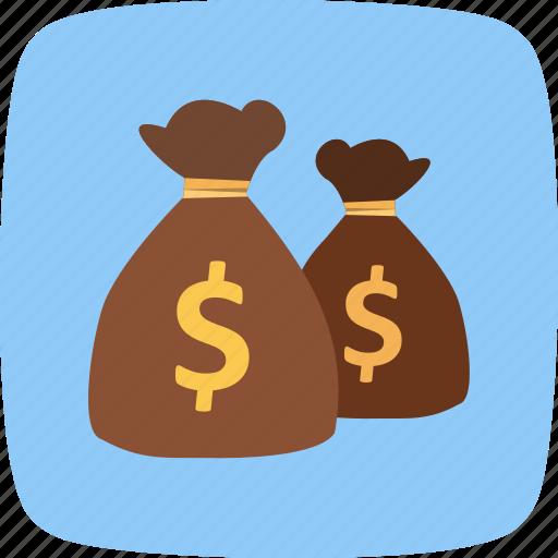 bags, cash, dollar icon