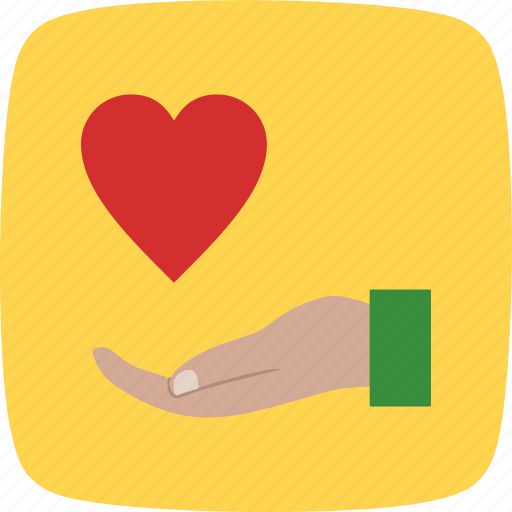 charity, donation, give, heart on hand, voulnteer icon