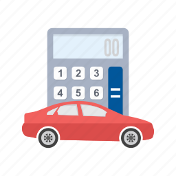 amount, auto, calculation, calculator, car, transport, vehicle icon