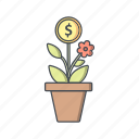 banking, business, growth, plant, seo icon
