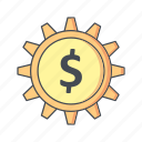 cog, dollar, options, wheel icon