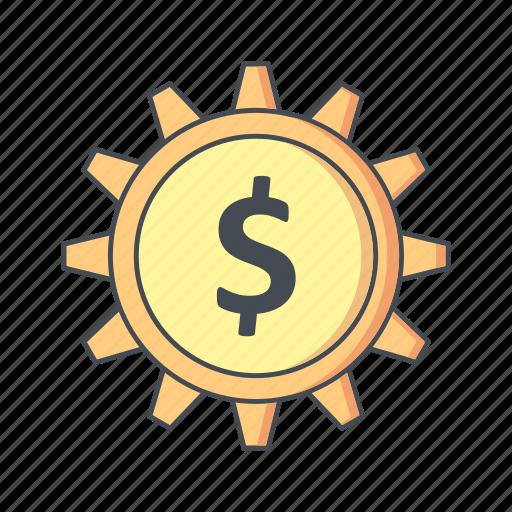 banking, cog, dollar, options, wheel icon
