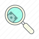 dollar, find, money, search icon