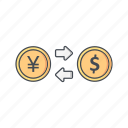 currency, exchange rate, foreign exchange, payment icon