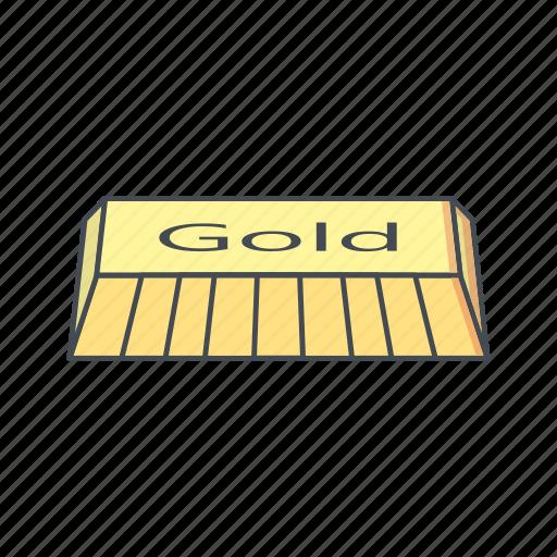 banking, bar, brick, gold, ingot icon
