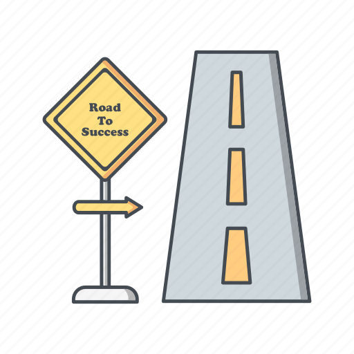 banking, milestone, road, sign, success icon