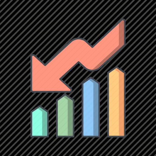 crisis, down fall, graph, loss icon