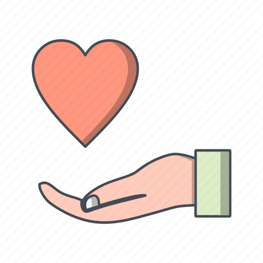 banking, charity, donation, give, heart on hand icon
