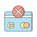 banking, payment, sending failure, shopping, transaction icon