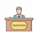 administrative, counter, reception, receptionist icon