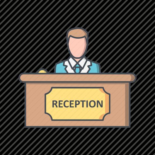 administrative, counter, reception, receptionist icon