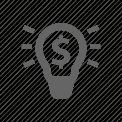 business idea, dollar, lamp, lamp bulb, money, price, rays icon