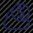 cloud, coin, digital, dollar, money, savings icon
