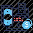 cash banking, cash machine, check, money icon