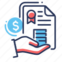 coins stack, document, money, seal icon