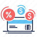 bank card, credit, money, percent icon