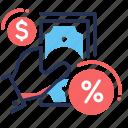 credit, hand, money, percent icon