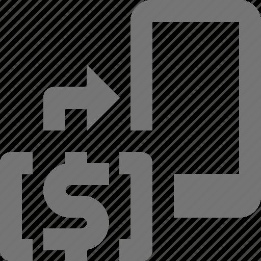 arrow, banking, money, phone, smartphone, telephone icon