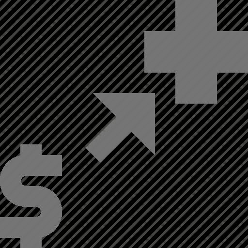 arrow, banking, donation, money icon