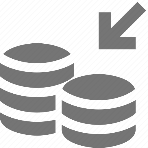 arrow, banking, coins, deposit, money icon