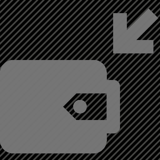 arrow, banking, deposit, wallet icon