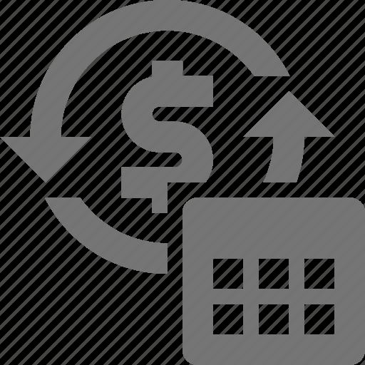 arrows, banking, calendar, money, refresh, reload, sync icon