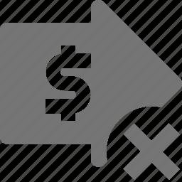 arrow, banking, delete, money icon