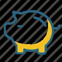 pig, money box, piggy bank, savings icon