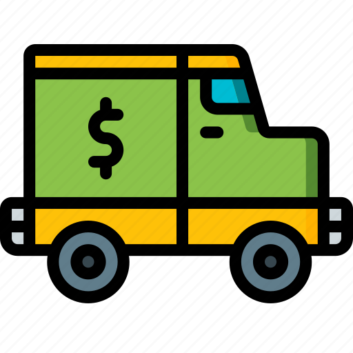 banking, finance, money, truck icon
