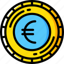 banking, coin, euro, finance, money