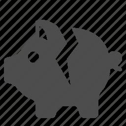bank, broken, cracked, finance, money, piggy, savings icon