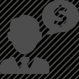 business, businessman, chat bubble, finance, financial, money icon