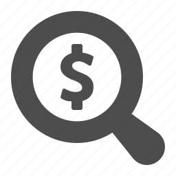dollar, finance, financial, magnifier, magnifying glass, money, search icon