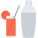 alcohol, bar, club, cocktail, glass, shaker, straw icon