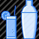 alcohol, bar, club, cocktail, glass, shaker, straw icon
