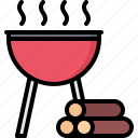 barbecue, bbq, cooking, firewood, grill, wood icon