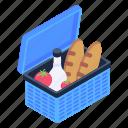 grocery basket, food basket, food bucket, food hamper, farm basket