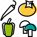 barbecue, bell pepper, mushrooms, pepper, salad, tomato, vegetables icon